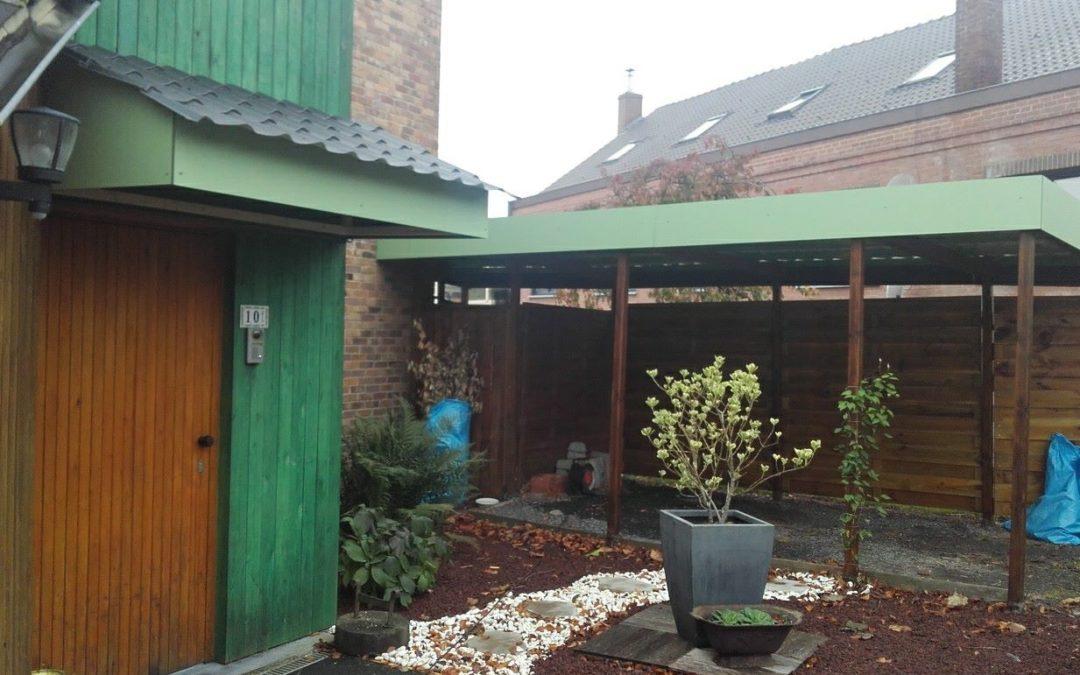 Carport et auvent de porte en panneau Trespa